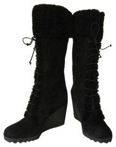 Fendi Shearling Wedge Knee High Fur Tall Black Boots