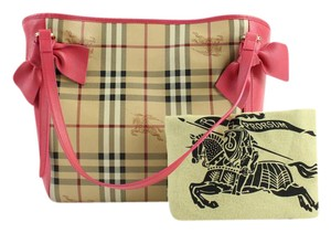 Burberry Canter Haymarket Pink Bow Tote