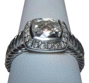 David Yurman 7mm petite Albion Ring w/ white topaz & Pave Diamonds size 6
