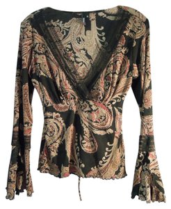 Trixxi Bell Sleeve V-neck Lace Lace Trim Top brown black