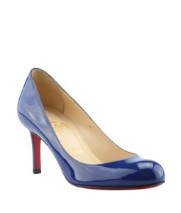 Christian Louboutin Patent Leather Loubs Red Bottoms Blue Pumps