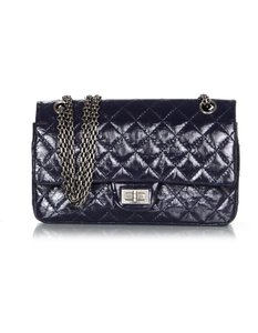 Chanel Double Flap Patent Leather Navy Quilted Shoulder Bag