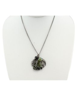Chanel Chanel 'CC' Ginkgo & Green Beaded Silver-tone Pendant Necklace(113100)