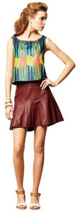 HD in Paris Anthropologie Vegan Leather Pleats Mini Skirt Brown