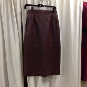 Ellen Tracy Leather Pencil Vintage Skirt Brown