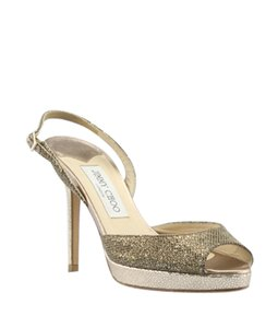 Jimmy Choo Fabric Slingbacks Open Toe Bronze Pumps