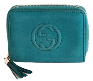 Gucci Turquoise Blue Soho Nubuck Leather Mini Zip Around Wallet 351484