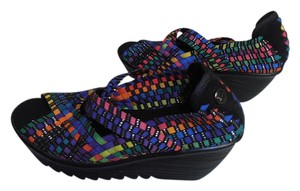 Bernie Mev Rubber Sole New Without Box Peep Toe Elastic multi-color Wedges