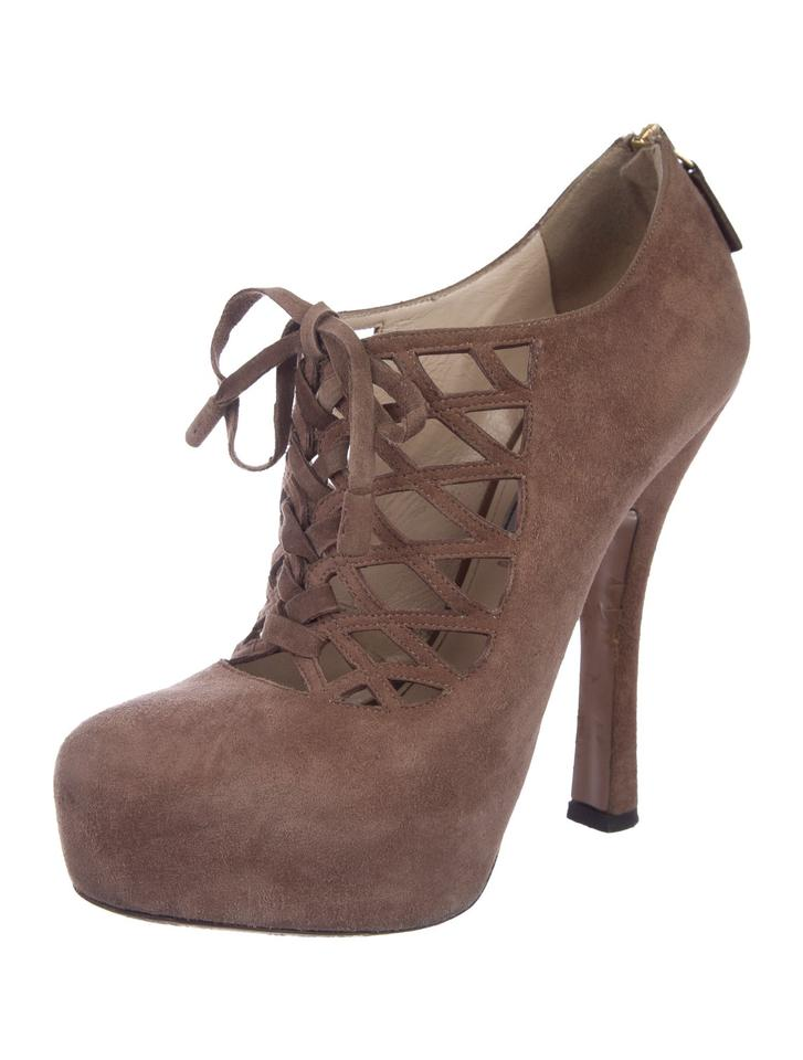 1f1f6a1626 Prada Rose Dark Suede Cage Lace Up Platform Ankle Pumps 37.5 Boots/Booties