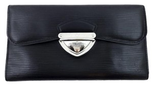 Louis Vuitton LOUIS VUITTON BLACK EPI LEATHER EUGENIE TRIFOLD CLUTCH WALLET PURSE