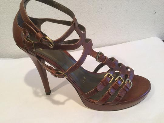 Stuart Weitzman And Made Spain Brown all leather strappy buckles open toe Platforms