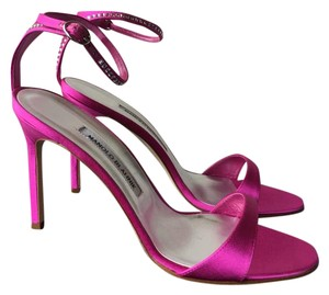 Manolo Blahnik Embellished Satin Fuchsia Sandals