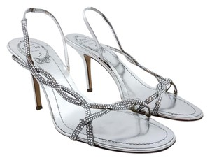 Rene Caovilla Bling Evening Leather Heels Silver Sandals