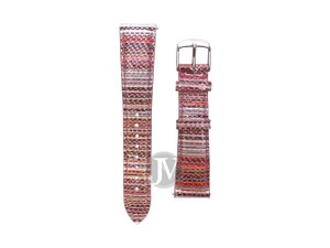 Michele NWT MICHELE WATCH BRACELET LEATHER BERRY STRIPE 20MM STRAP MS20AB43084