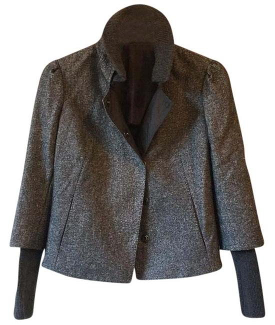 Item - Grey Button Down Collared Puff Shoulder Jacket Size 12 (L)