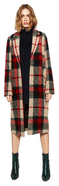 Item - Red Multi New Tags Plaid Check Wool Coat Size 8 (M)
