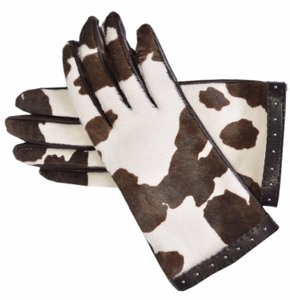 Gucci Gucci Women's Calf Hair Nappa Leather Interlocking GG Gloves 6.5 S