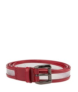 Burberry Burberry Clear & Red Leather & Patent Leather Belt, (45737)