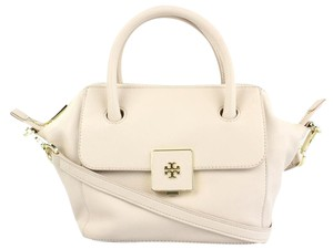 Tory Burch Crossbody Messenger Shoulder Satchel in Creamy Almond