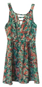 Belk short dress coral and green flower pattern on Tradesy