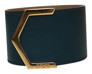 Fendi Black bangle bracelet constructed with genuine leather and gold snaps.