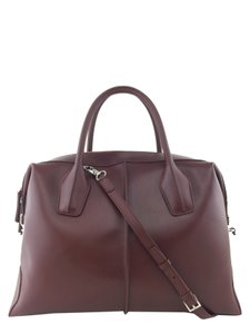 Tod's Silver Hardware Logo Tote in Rust