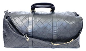 Chanel Handabg Jumbo Boston Lambsin Black Travel Bag