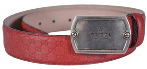 Gucci Gucci Men's 322293 Red Leather Micro GG Dog Tag Buckle Belt 34 85