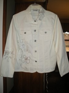 Chico's Embroidered Sequin Denim White Womens Jean Jacket