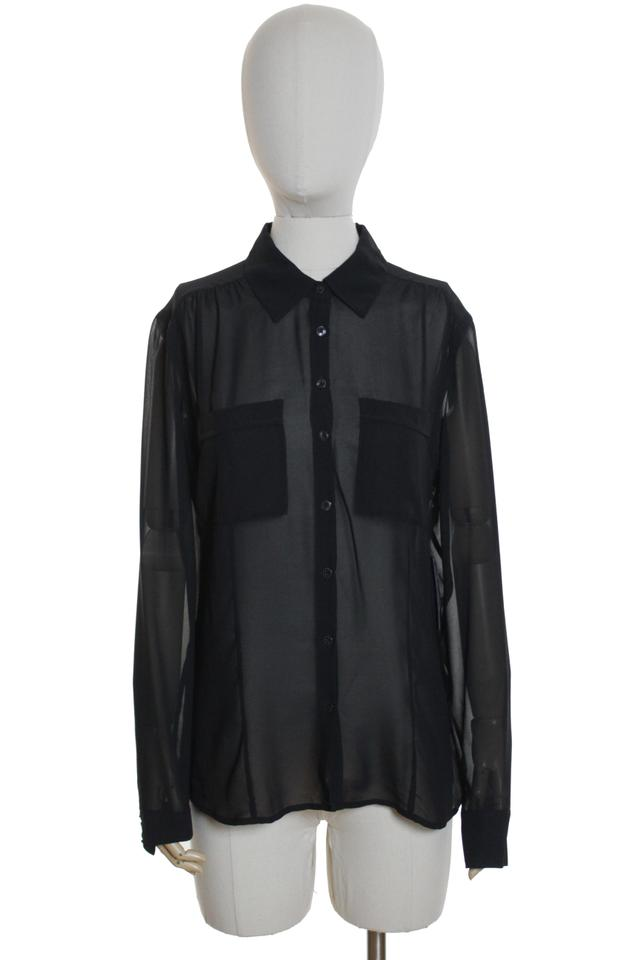 228fef86 Guess Black Charlotte Sheer Long Sleeve Blouse Button-down Top Size ...