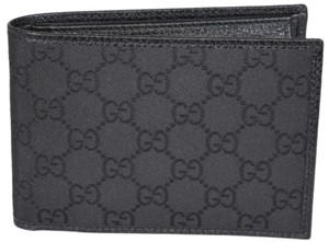 Gucci Gucci Men's 292534 Black Nylon GG Guccissima WCoin Large Bifold Wallet