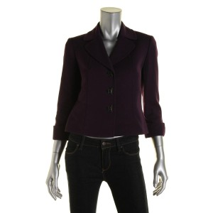 Tahari Turn Key Closure Three Button Purple Blazer