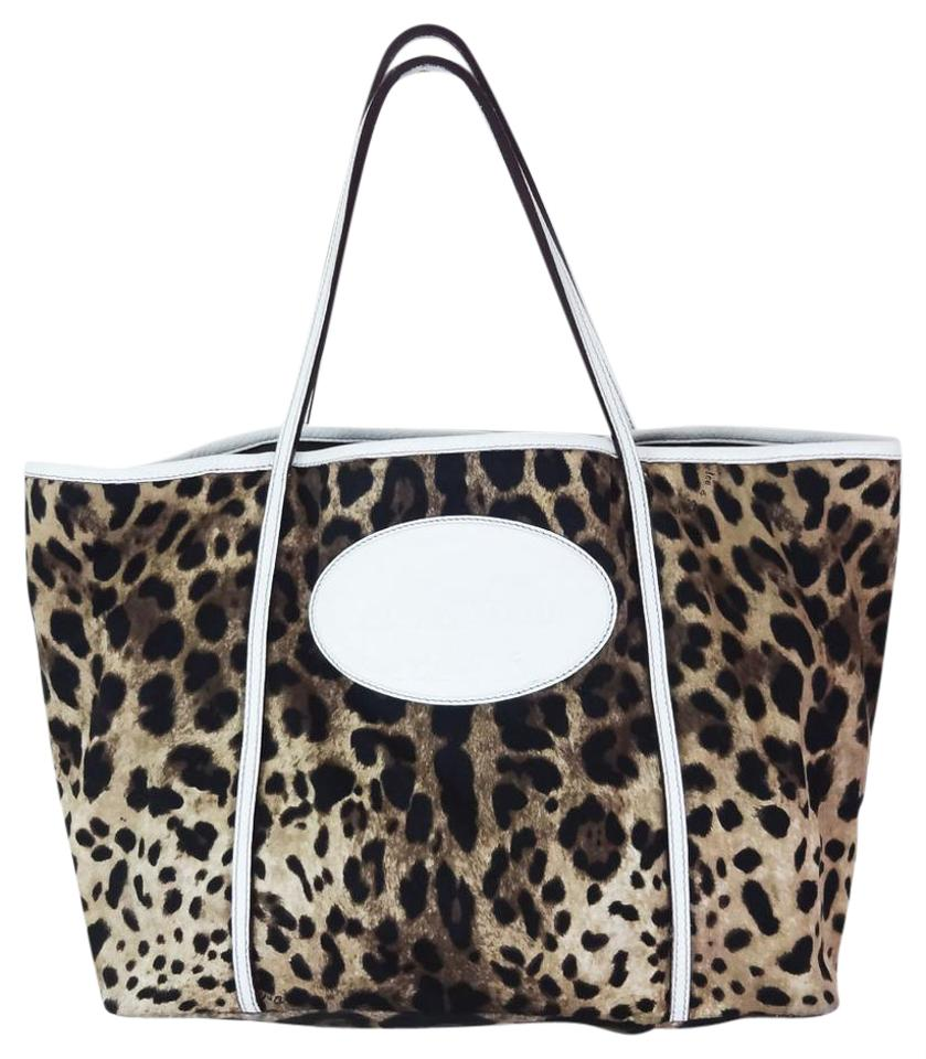 Dolce Gabbana Animalier Large Leopard White Leather Canvas Tote ... 342d65a686
