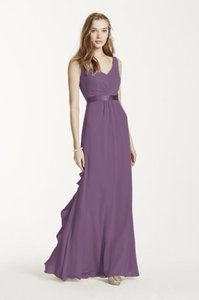 David's Bridal Wisteria Sleeveless Chiffon Dress With Ruffled Back Detail #f15530 Dress