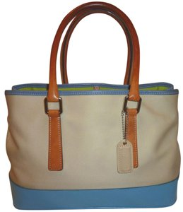 Coach Refurbished Leather Jacquard Tote in Cream, Blue and Tan