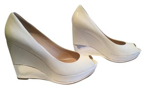 Marciano Silver Border All Leather White patent Wedges