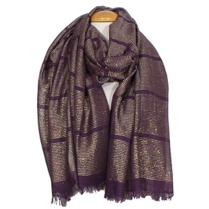 Lauren Ralph Lauren Purple Colorblock Metallic Fringe Wrap Scarf