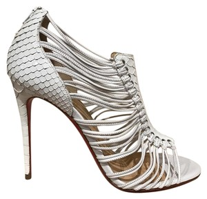Christian Louboutin Amal Stiletto Python Snakeskin Strappy white Pumps