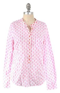 J.Crew Cotton Poplin Calico Longsleeve Popover Button Down Shirt Pink