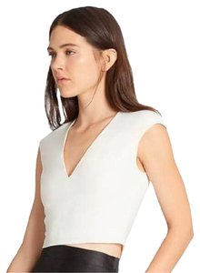 Halston Crop Cut-out Out Date Night Top off white