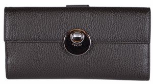 Gucci Gucci 231835 Brown Textured Leather Continental Clutch W/Coin Wallet