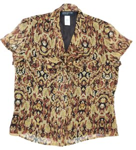 Jones New York Summer Fall Sheer Spring Top Brown Gold Black