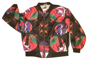 Vintage 80's Black background with amazing designs of baby angels, suns and moons & tons of other colors Jacket