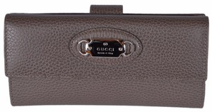 Gucci Gucci Women's 231841 Grey Field Brown Leather W/Coin Wallet