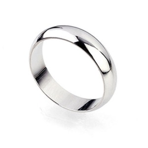 4mm White Gold Filled Unisex Smooth Band Ring Free Shipping