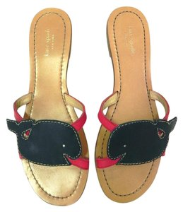 Kate Spade Leather Flip Flops Flats Cute Navy Red Preppy Sandals