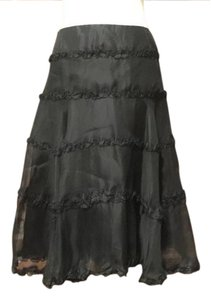 Charles Chang Lima Ruffles Party Silk Tiered Skirt Black