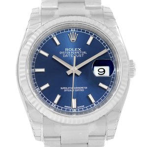 Rolex Rolex Datejust Steel White Gold Blue Baton Dial Watch 116234 Unworn