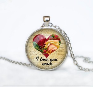 I Love You Mom Glass Cabochon Necklace Free Shipping
