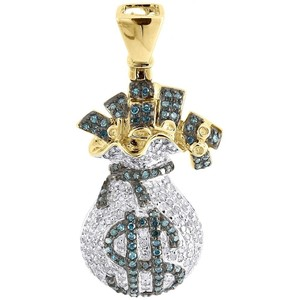 Other Blue Diamond Money Bag Pendant 10k Yellow Gold Round Dollar Sign 1 Ct